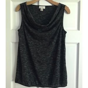 LOFT Cowl Neck Sleeveless Top Black Grey Medium